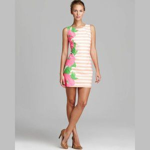 Lilly Pulitzer coral pink stripe floral mini dress